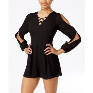 NEW SEXY BLACK LACE UP COLD SHOULDER ROMPER DRESS